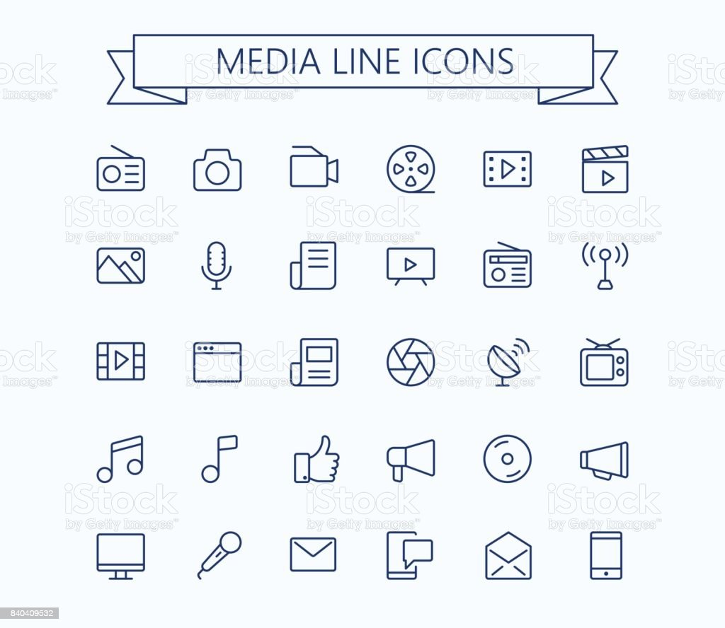 Multimedia vector icons set. Thin line outline 24x24 Grid. Pixel Perfect.Editable stroke. vector art illustration