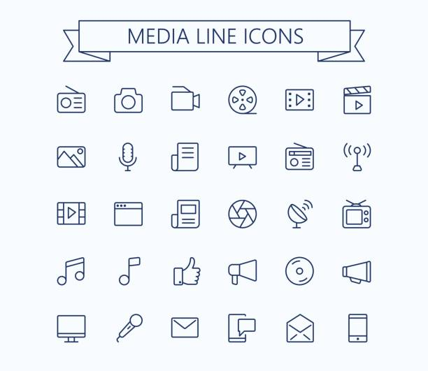 multimedia vector icons set. thin line outline 24x24 grid. pixel perfect.editable stroke. - music and entertainment icons stock illustrations