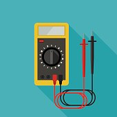 Multimeter flat icon with long shadow. Vector banner of Electrical diagnostics.