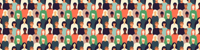 multinational community web banner.international community poster pattern.Humans of different gender, ethnicity, and color.Vector illustration for design, directory,announcements, postcards, manual,