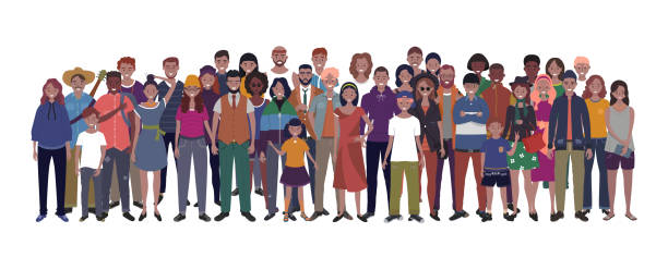 multinational group of people isolated on white background. children, adults and teenagers stand together. vector illustration - old man smile silhouette stock illustrations