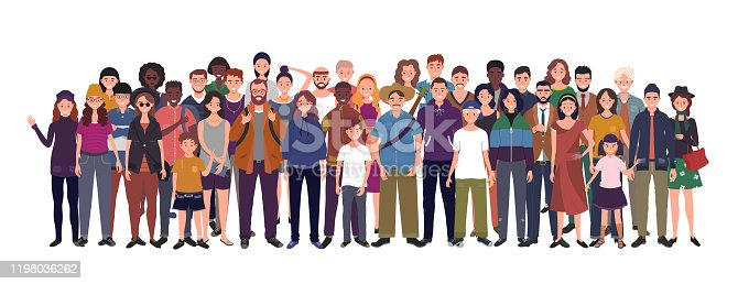 istock Multinational group of people isolated on white background. Children, adults and teenagers stand together. Vector illustration 1198036262