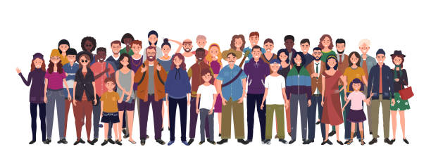 Multinational group of people isolated on white background. Children, adults and teenagers stand together. Vector illustration Multinational group of people isolated on white background. Children, adults and teenagers stand together. Vector illustration community silhouettes stock illustrations