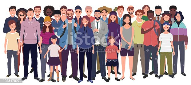 istock Multinational group of people isolated on white background. Children, adults and teenagers stand together. Vector illustration 1253479272