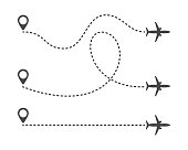 Multiple aircraft routes with dotted lines. Traveler tracks marked with dotted lines. Airplane tracking on route on white background