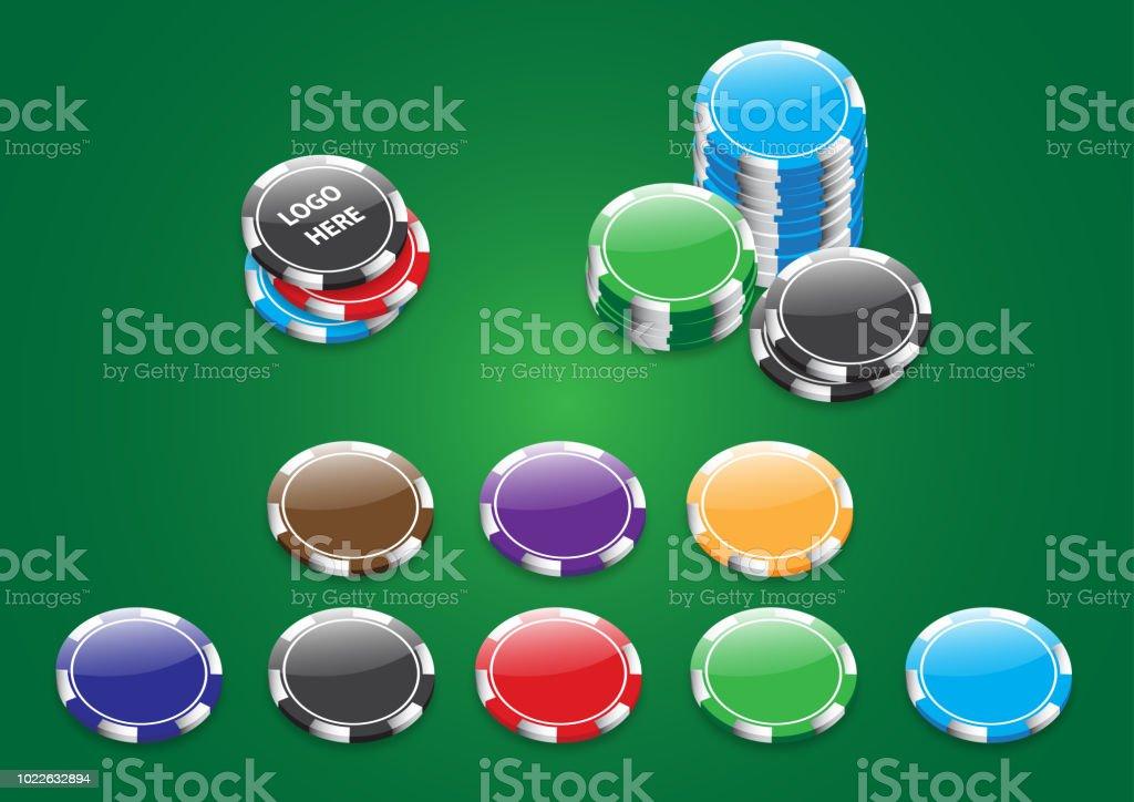 Multiple color poker chips in vector form vector art illustration