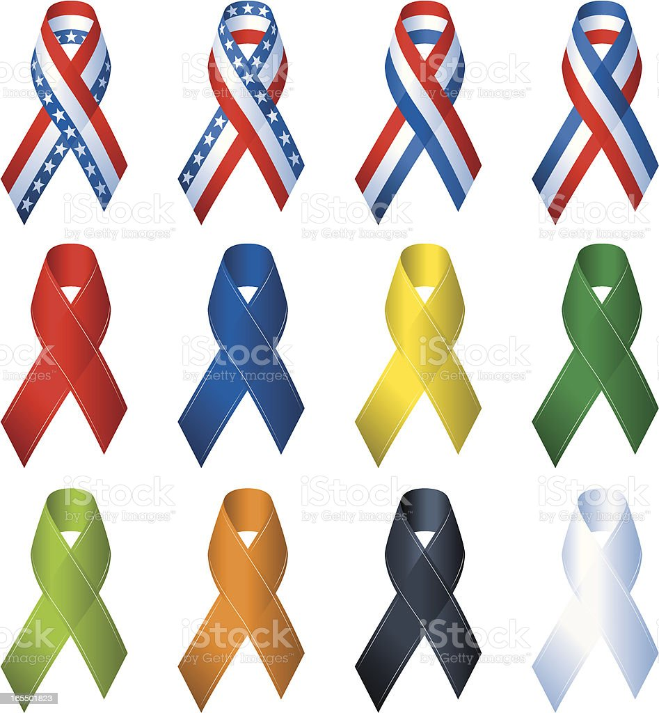Multiple Color Remembrance Ribbons royalty-free multiple color remembrance ribbons stock vector art & more images of aids