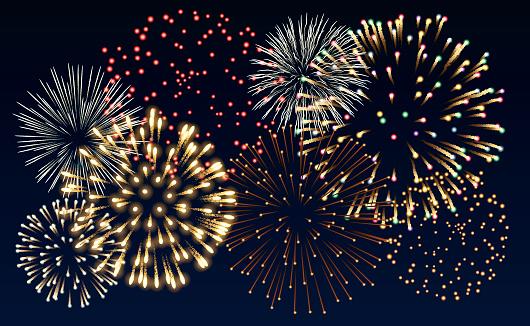 Multiple Colorful Fireworks Bursts On Black Background Stock Illustration - Download Image Now
