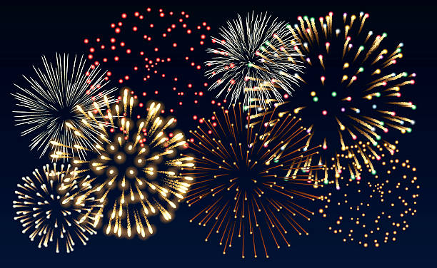 Multiple colorful fireworks bursts on black background Illustration of fireworks, EPS 10 contains transparency independence day illustrations stock illustrations