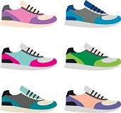 Set of isolated vector sneakers