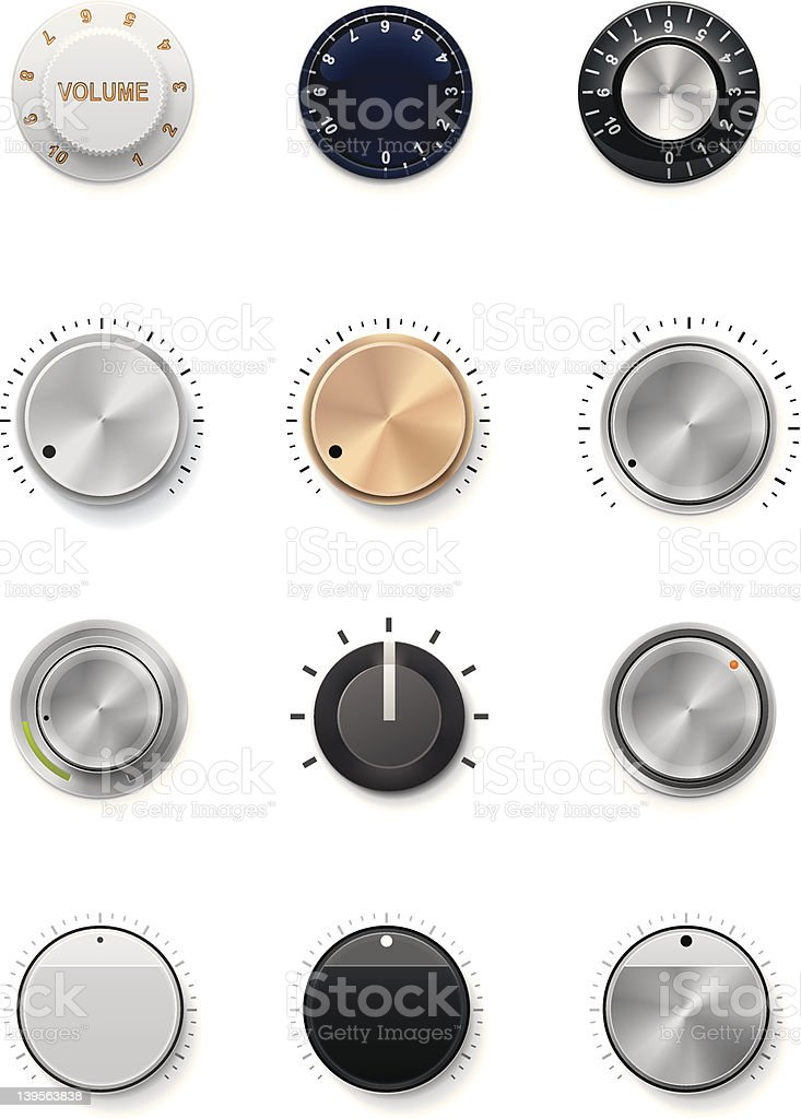 Multiple colors and styles of volume knobs Set of the detailed control knobs in different colors Adjusting stock vector