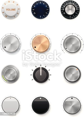 Set of the detailed control knobs in different colors