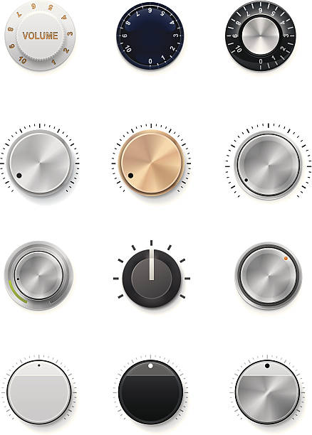 Multiple colors and styles of volume knobs Set of the detailed control knobs in different colors knob stock illustrations