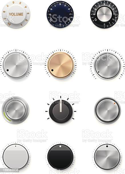 Multiple Colors And Styles Of Volume Knobs Stock Illustration - Download Image Now