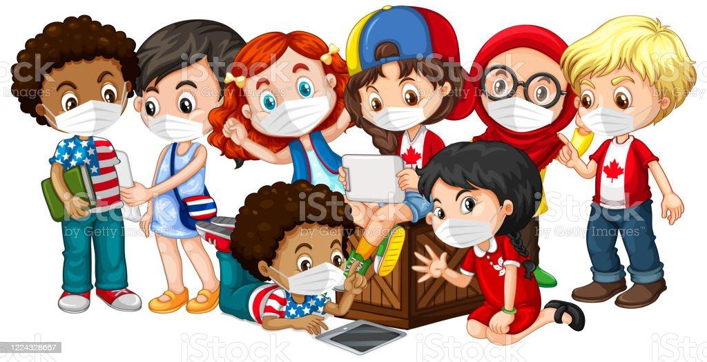 Mehrere Kulturen Kinder tragen Maske - Lizenzfrei Bildhintergrund Vektorgrafik