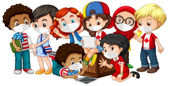 Mehrere Kulturen Kinder Tragen Maske Stock Vektor Art und mehr Bilder von Bildhintergrund