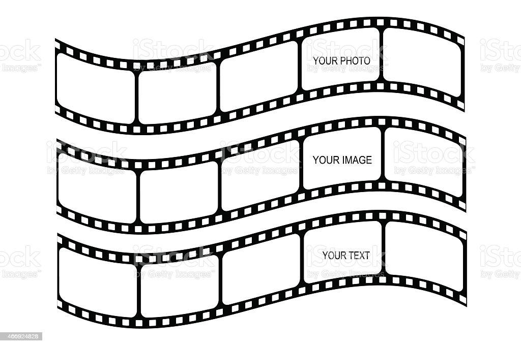 Multiple designs of a film strip set vector art illustration