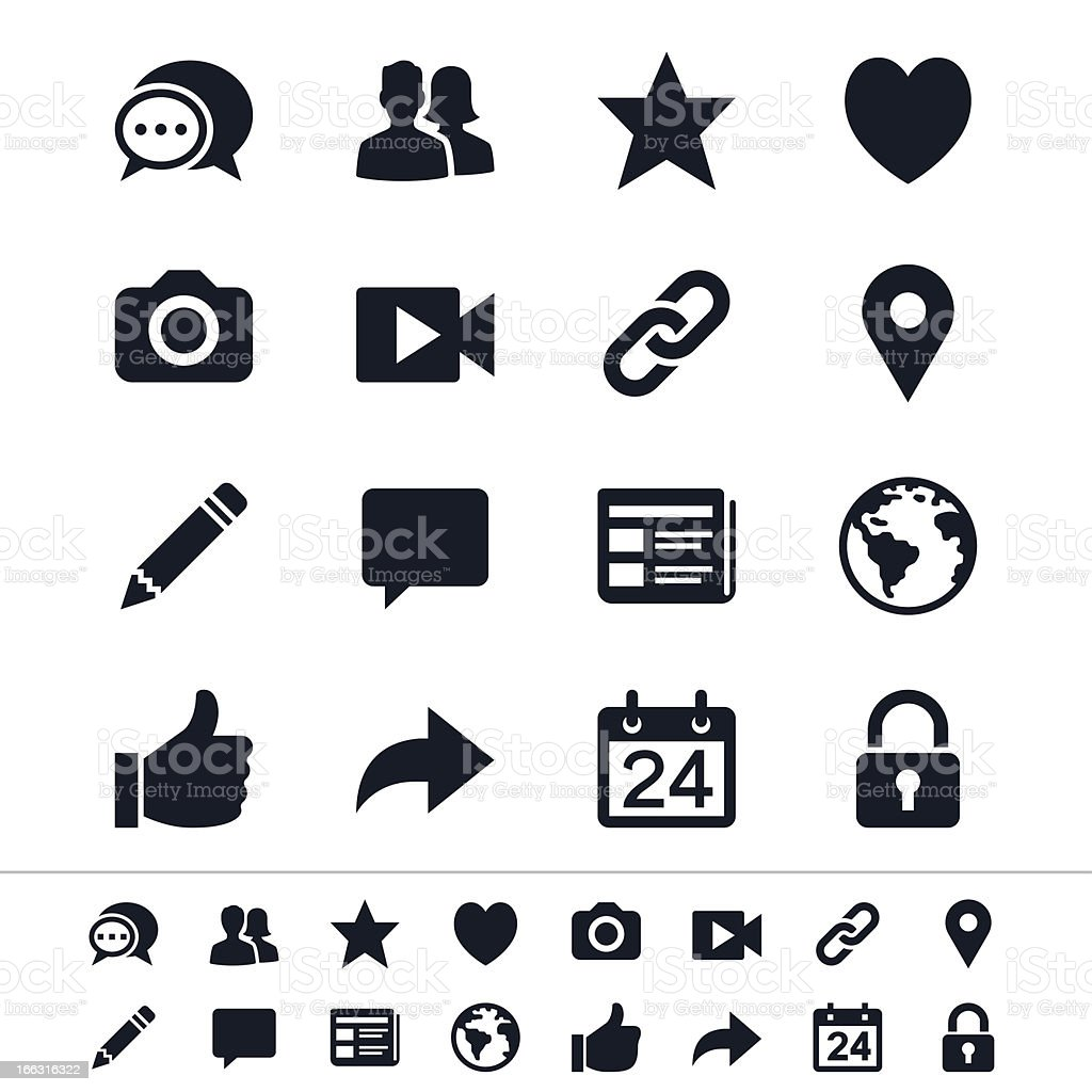 Multiple different icons depicting social media vector art illustration