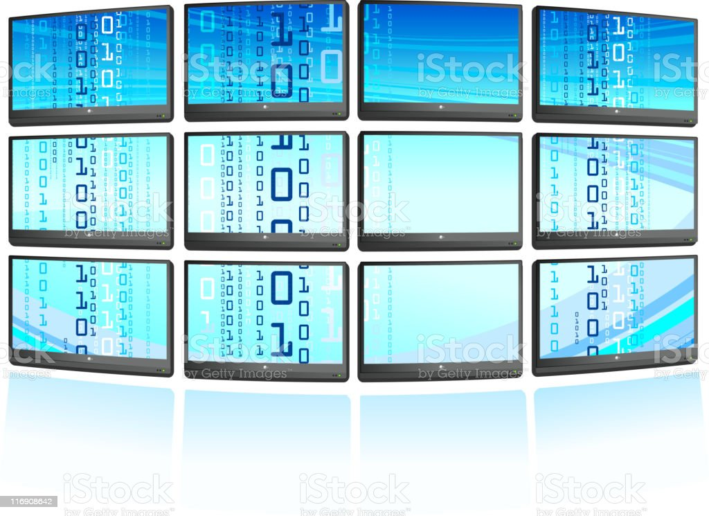 Multiple displays with abstract blue Background vector art illustration
