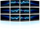 Multiple displays with abstract blue waves background