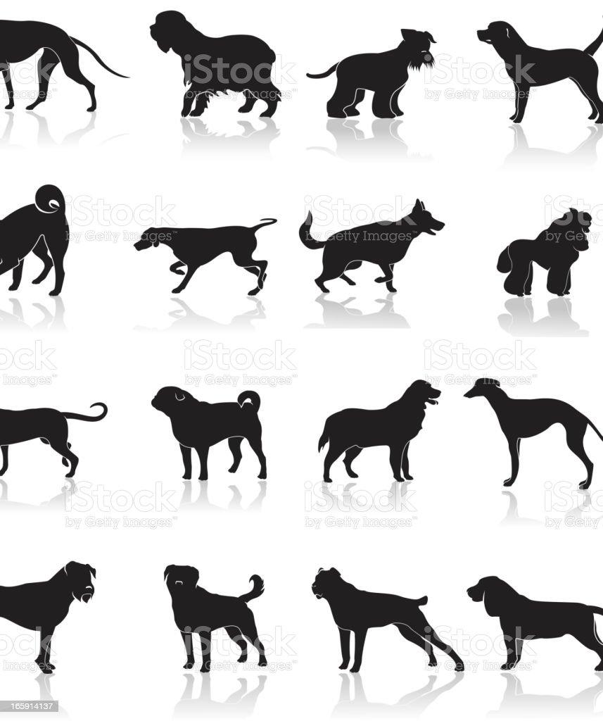 Multiple dog breeds computer icon set vector art illustration
