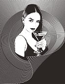 Multiple exposure composite of a sensuous woman drinking martini with half tone pattern background