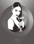 Engraving Multiple exposure composite of a sensuous woman drinking martini with half tone pattern background
