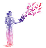 Multiple exposure illustration of a young serene mixed-race woman and flying birds.