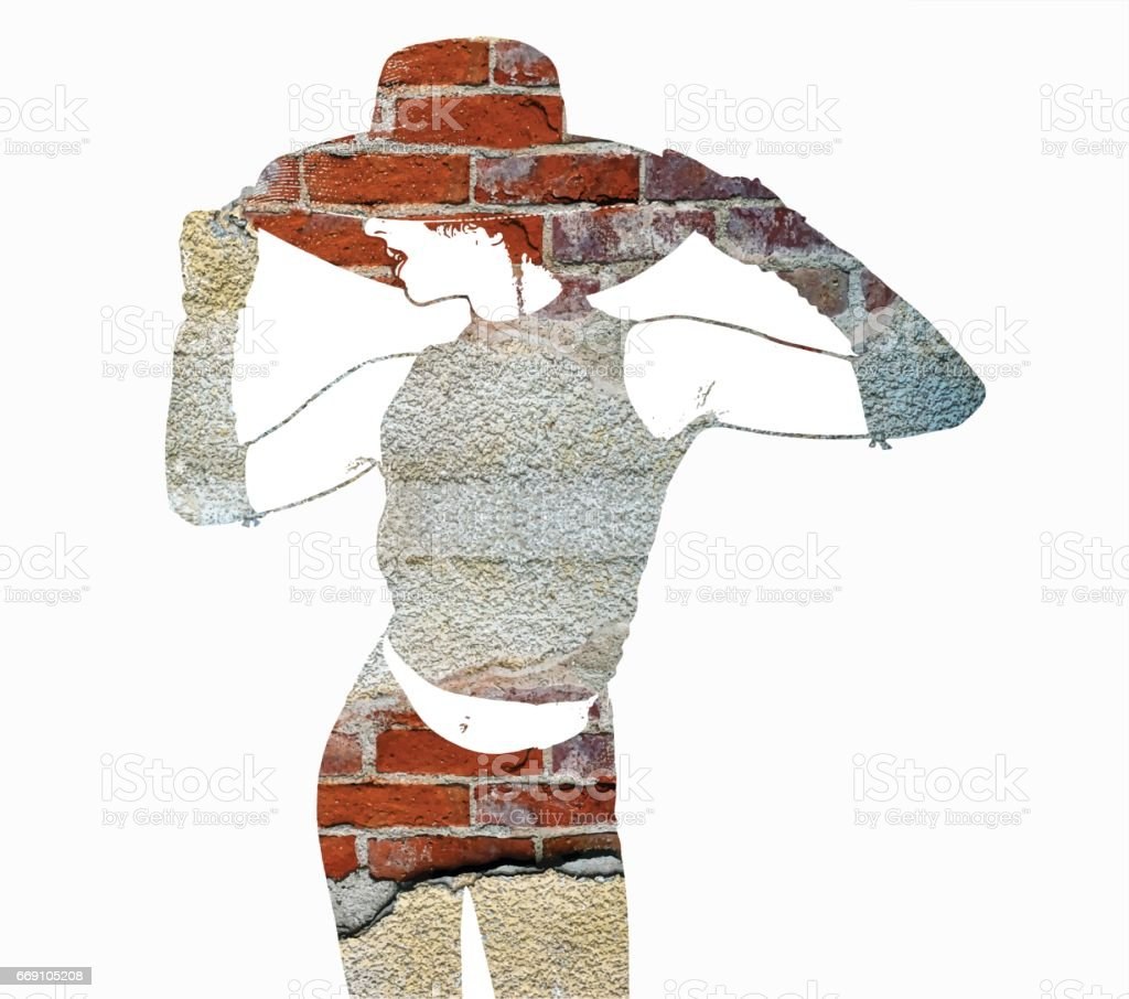 Multiple exposure Illustration of a woman and brick wall vector art illustration