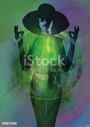 Multiple exposure illustration of a Zen-like young woman wearing vintage fashion with space background