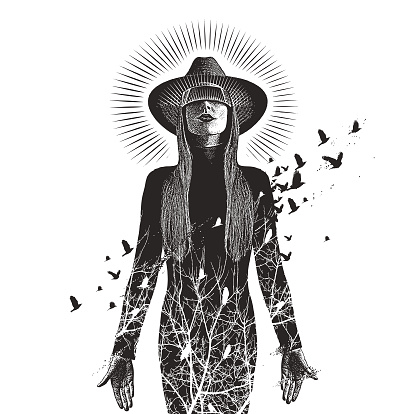 Multiple exposure of a Beautiful woman using virtual reality headset to connect with nature