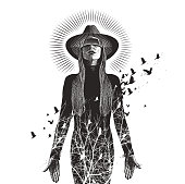 Engraving vector of a Beautiful woman using virtual reality headset to connect with nature