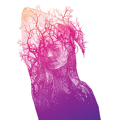 Multiple exposure of a Beautiful young woman and trees