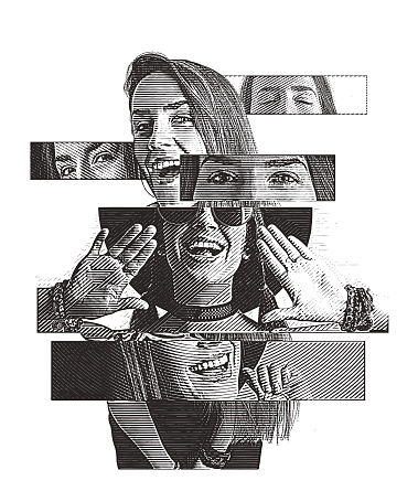Multiple exposure of a cheerful woman with positive emotions