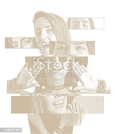 Engraving Multiple exposure of a cheerful woman with positive emotions