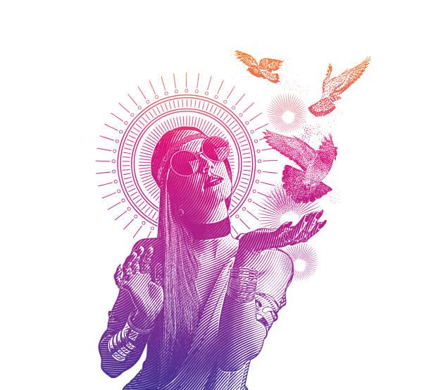 mehrfachbelichtung einer spirituellen boho-frau und tauben - zigeunerleben stock-grafiken, -clipart, -cartoons und -symbole