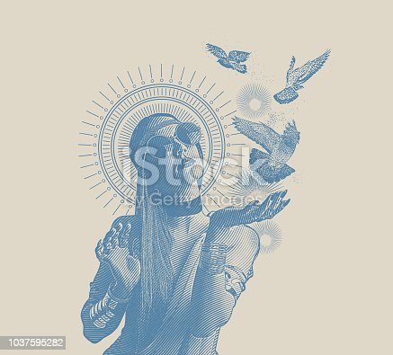 Engraving Multiple Exposure of a Spiritual boho woman and doves
