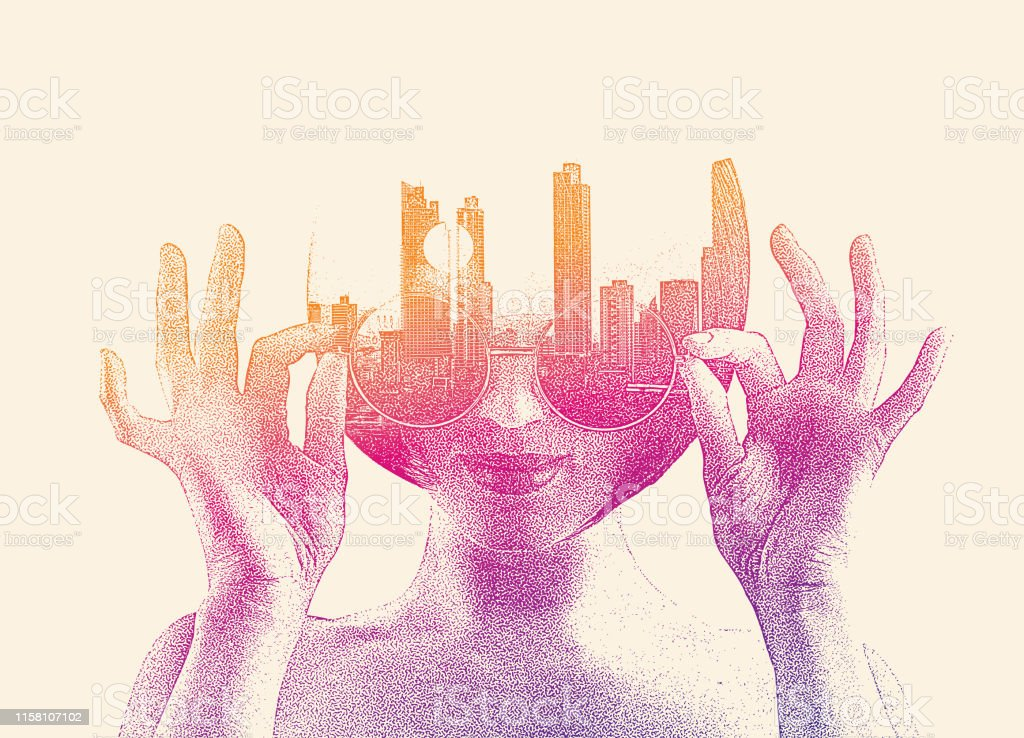 Multiple exposure of a young woman and cityscape - Royalty-free Addiction stock vector