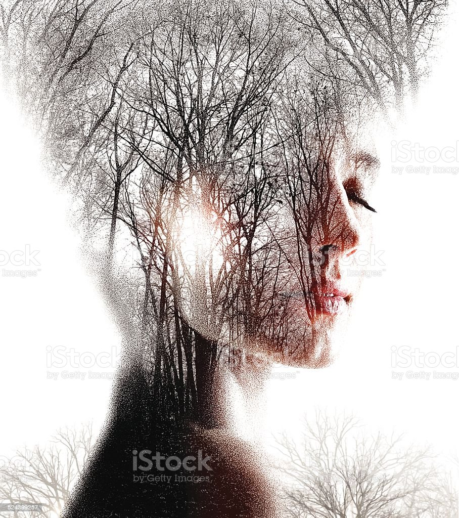 Multiple Exposure  of Woman Enjoying Forest vector art illustration