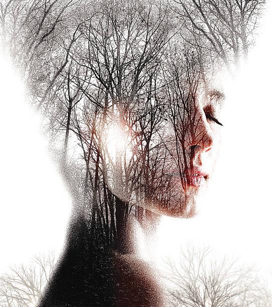 Multiple Exposure  of Woman Enjoying Forest vector art illustration