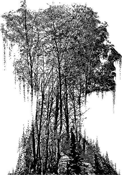 illustrazioni stock, clip art, cartoni animati e icone di tendenza di multiple exposure of woman merging with nature - woman portrait forest