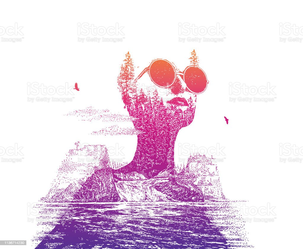 Multiple exposure of woman morphing into waterfall and mountains vector art illustration