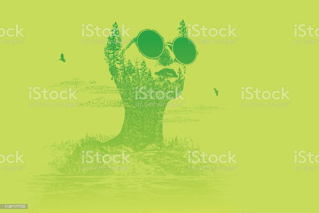 Multiple exposure of woman morphing into waterfall vector art illustration