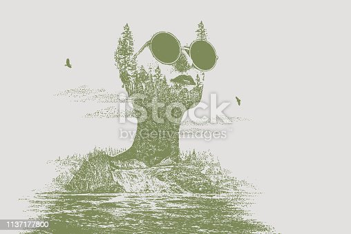 Stipple vector Multiple exposure of a young hipster woman morphing into waterfall and forest