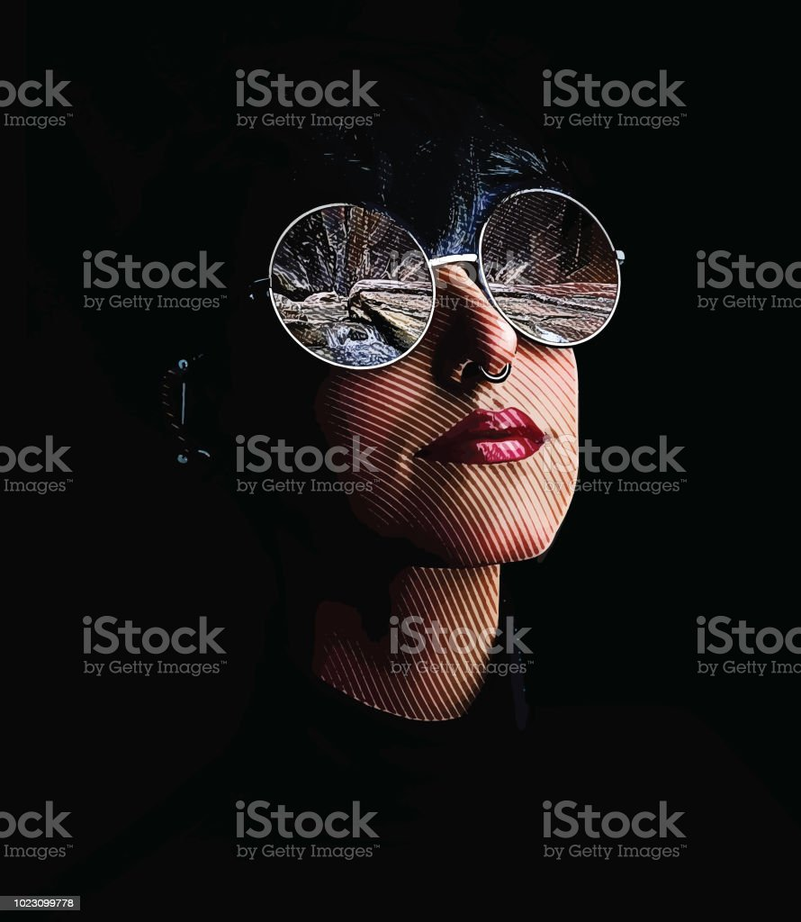fafe55e7b18 Multiple Exposure Of Woman Sunglasses And The Narrows Hiking Trail ...