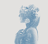Multiple Exposure of young woman and rose bush