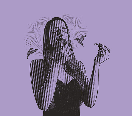 Multiple Exposure of young woman smelling essential oils with hummingbirds