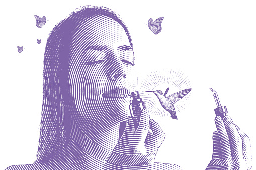 Multiple Exposure of young woman smelling essential oils with hummingbird