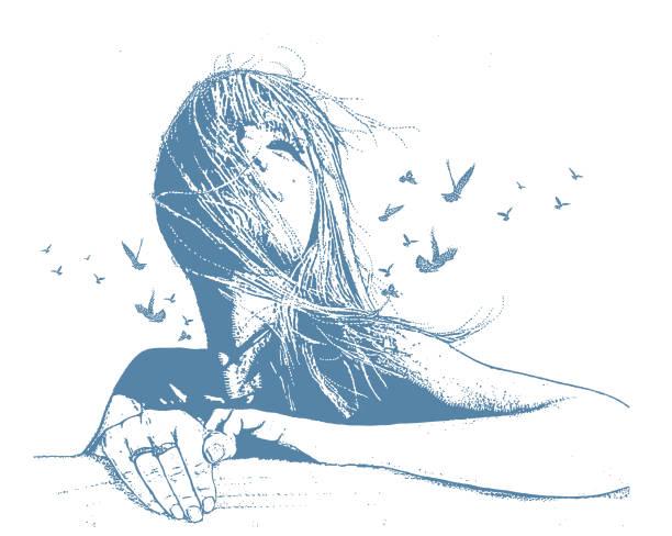 bildbanksillustrationer, clip art samt tecknat material och ikoner med flera exponerings vektor av en vacker ung kvinna och fåglar - stillsam scen