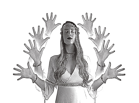 Multiple exposure vector of a young boho woman meditating